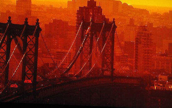 The Sun Setting On The Brooklyn Bridge by Mistyarts