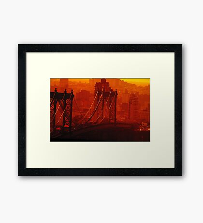 The Sun Setting On The Brooklyn Bridge Framed Print