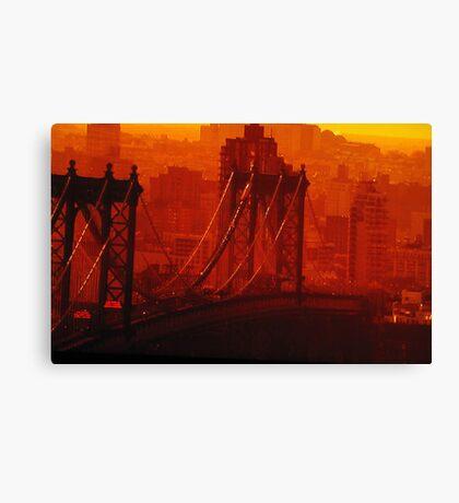 The Sun Setting On The Brooklyn Bridge Canvas Print