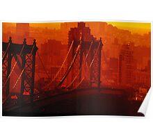 The Sun Setting On The Brooklyn Bridge Poster