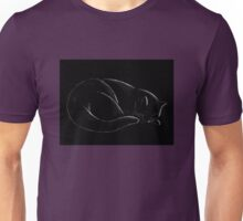 Sleeping Cat on Black Unisex T-Shirt