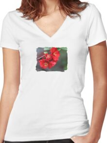 Chaenomeles - JUSTART © Women's Fitted V-Neck T-Shirt