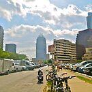 The Batman Building Overshadows Farmers Market - Austin Texas by Jack McCabe