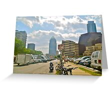 The Batman Building Overshadows Farmers Market - Austin Texas Greeting Card