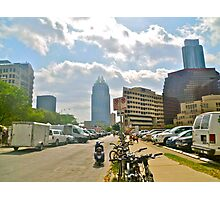 The Batman Building Overshadows Farmers Market - Austin Texas Photographic Print