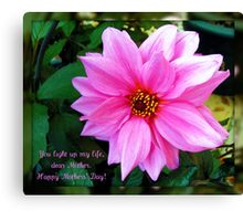 Pink Dahlia Mothers' Day Card Canvas Print