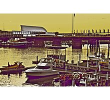 Yellow scenery & speed boats...:On Featured work Photographic Print