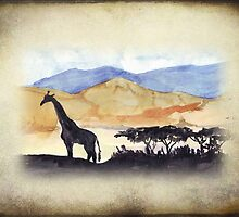 African Silhouette - Giraffe by Maree  Clarkson