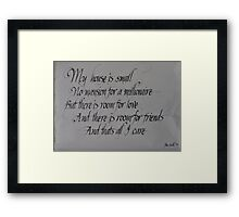 Commissioned calligraphic work Framed Print