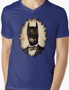 Batman + Abe Lincoln Mashup Mens V-Neck T-Shirt