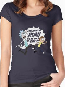 Rick and Morty On A Tshirt Women's Fitted Scoop T-Shirt