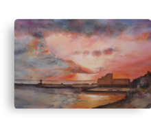 Winter on Folkestone harbour Canvas Print