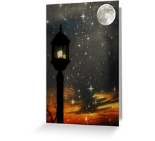 Moon lite night as the sun sets ©  Greeting Card