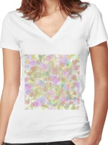 Soft Pastel Mixed Floral Abstract Women's Fitted V-Neck T-Shirt