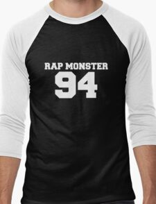 BTS Bangtan Boys Rap Monster Football Design White Men's Baseball ¾ T-Shirt