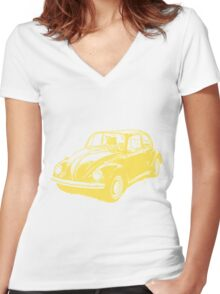 Classic VW Beetle Tee Yellow Ink Women's Fitted V-Neck T-Shirt