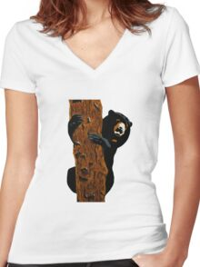 Sun bear Women's Fitted V-Neck T-Shirt