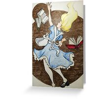 falling down the rabbit hole Greeting Card