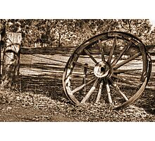 Wagon Wheel in Sepia Photographic Print