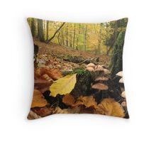Autumn leaves and fungi Throw Pillow