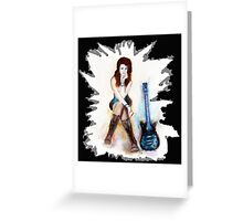 Girl with blue guitar Greeting Card
