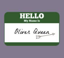 Hello My Name Is Oliver Queen Sticker - Green Arrow  Kids Tee