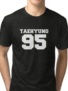 BTS Bangtan Boys Taehyung Football Design White Tri-blend T-Shirt