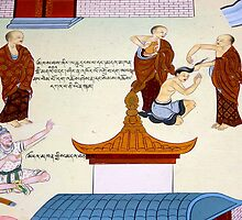tibetan mural. clementown, india by tim buckley   bodhiimages