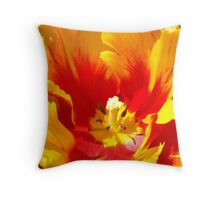 Yellow Red Tulip Flower art prints Floral Baslee Troutman Throw Pillow
