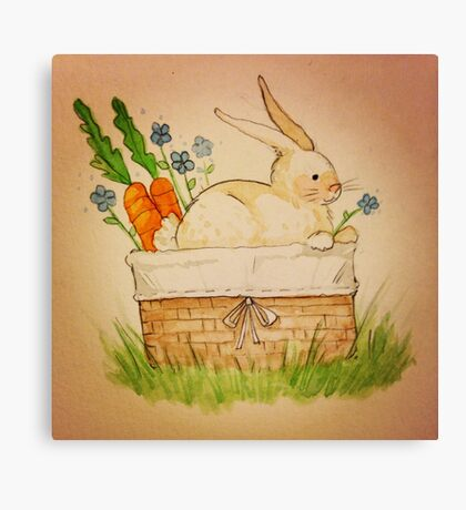 Spring Bunny Basket Canvas Print