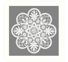Victorian Ceiling Rose | Doily Pattern | Grey & White Art Print