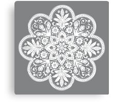 Victorian Ceiling Rose / Doily Pattern - Grey & White Canvas Print