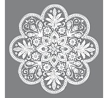 Victorian Ceiling Rose / Doily Pattern - Grey & White Photographic Print