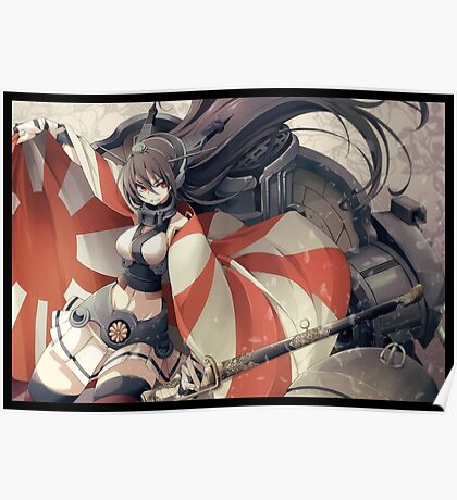 Nagato with rising Sun Flag Poster