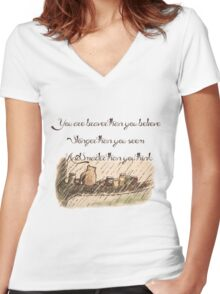 """You Are Braver Than You Believe"" (version 1) Women's Fitted V-Neck T-Shirt"