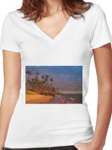 Sunset over Maalaea Bay - Maui, HAWAII Women's Fitted V-Neck T-Shirt