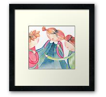 "group of schoolchildren,illustration of the story ""backpack"" Framed Print"