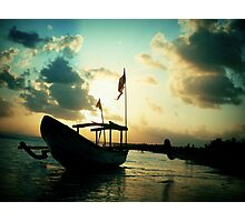 silhouette boat Photographic Print