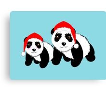 Cute Cartoon Pandas In Santa Hats Canvas Print
