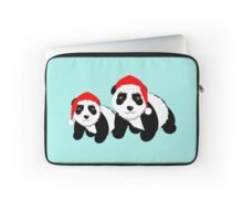 Cute Cartoon Pandas In Santa Hats Laptop Sleeve