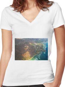 Diamond Head in Waikiki Beach - Honolulu, OAHU HAWAII Women's Fitted V-Neck T-Shirt