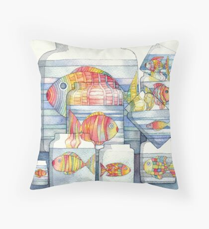 colorful fish Throw Pillow