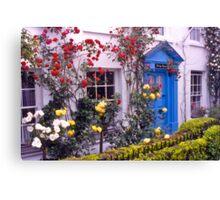 Entrance, English cottage, roses. UK Canvas Print