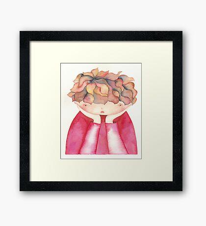 """Sad child ,illustration of the story """"backpack"""" Framed Print"""