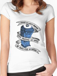 Dr Who Blue Women's Fitted Scoop T-Shirt
