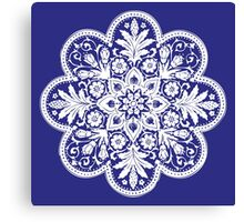 Victorian Ceiling Rose | Doily Pattern | Navy Blue & White Canvas Print