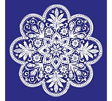 Victorian Ceiling Rose / Doily Pattern - Blue & White Photographic Print