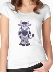 Animal Parade Cow Silhouette Women's Fitted Scoop T-Shirt