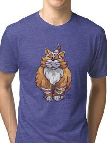 Animal Parade Ginger Cat Silhouette Tri-blend T-Shirt