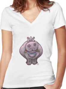 Animal Parade Hippopotamus Silhouette Women's Fitted V-Neck T-Shirt